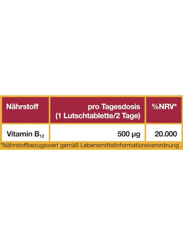 Nährwerttabelle Vitamin B12 1000 µg