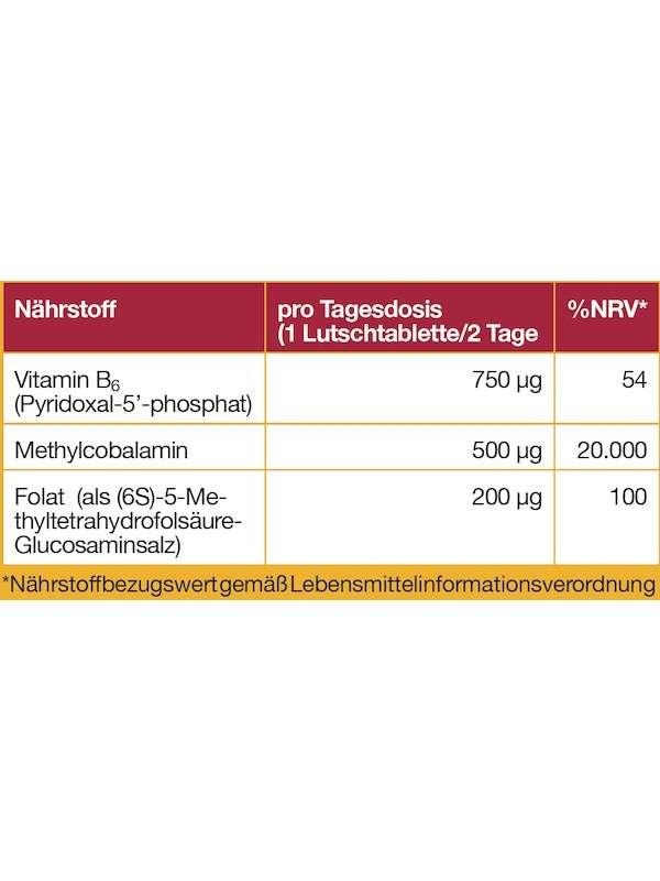 Nährwerttabelle Vitamin B12 & Methylfolat + Vitamin B6