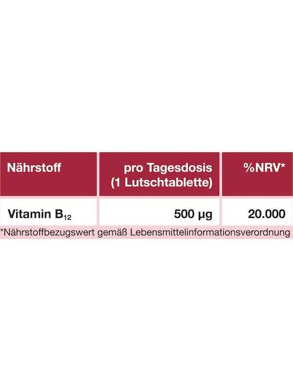 Nährwerttabelle Vitamin B12 500 µg
