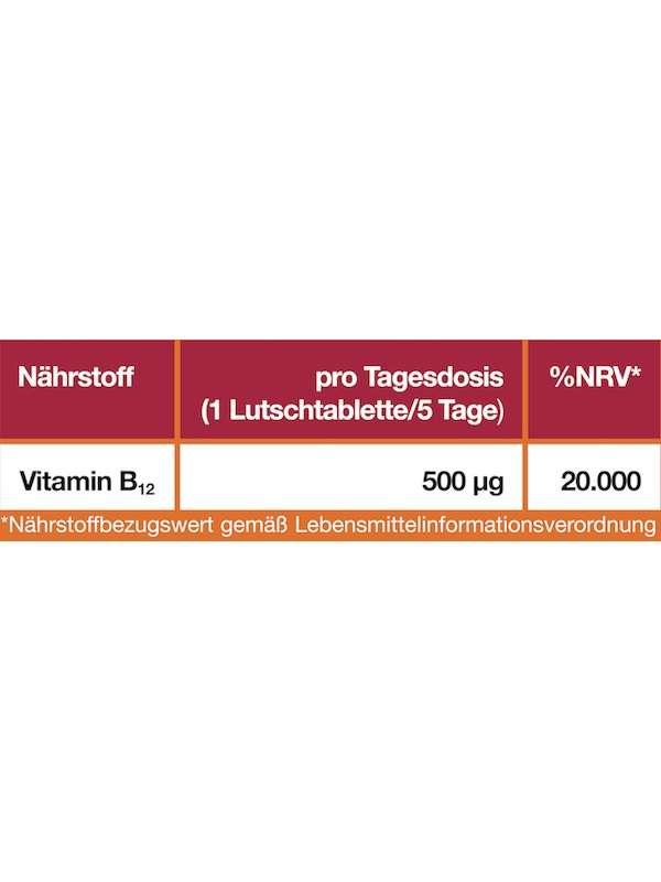Nährwerttabelle Vitamin B12 2500 µg