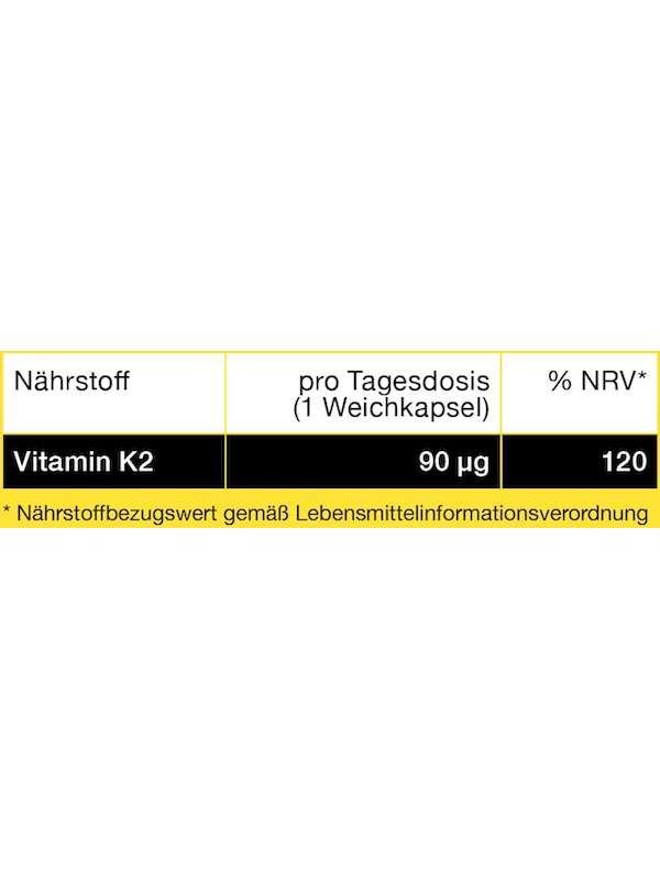 Nährwerttabelle Vitamin K2 90 µg