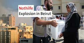 Nothilfe Explosion in Beirut Libanon